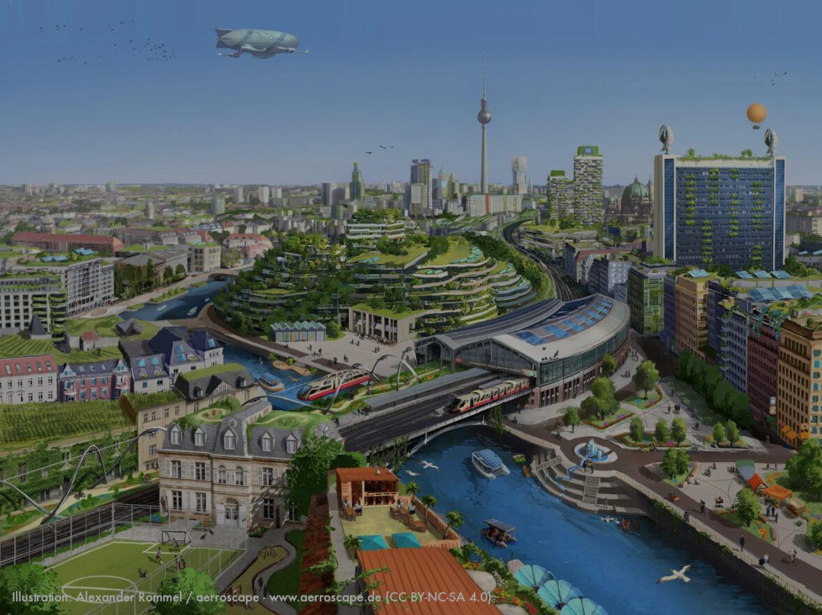 Die Illustration zeigt ein utopisches Berlin, erdacht von Lino Zeddis.