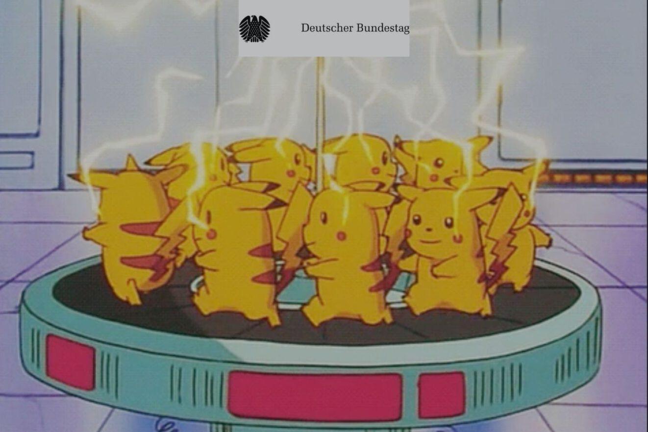 Das Bild zeigt Pokemon Pikachus, die den Bundestag mit Energie versorgen.